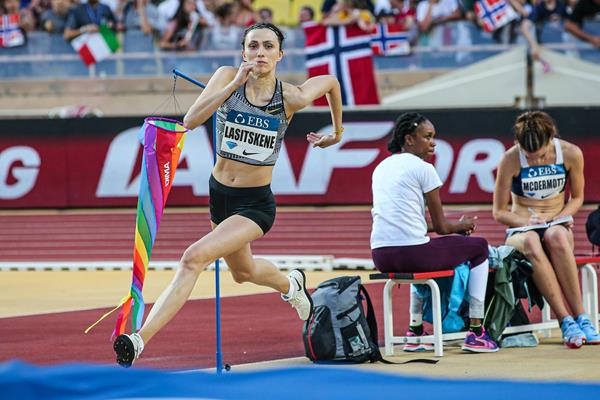 High jump winner Mariya Lasitskene at the IAAF Diamond League meeting in Monaco (Philippe Fitte)