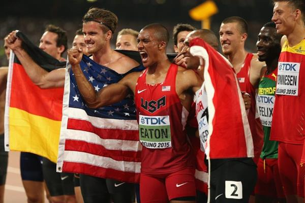 Winner Ashton Eaton with the decathlon field at the IAAF World Championships, Beijing 2015 (Getty Images)