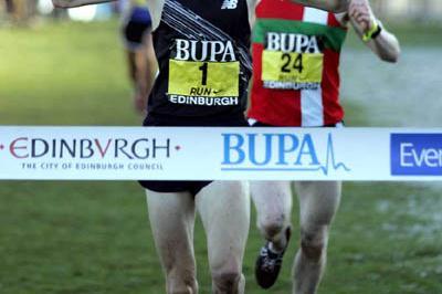 Andy Baddeley takes the 4.4km contest in Edinburgh (Mark Shearman)