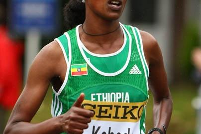Aberu Kebede in action in Birmingham (Getty Images)