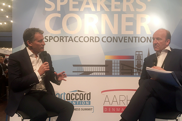 IAAF President Sebastian Coe announces the launch of the AIU at SportAccord in Aarhus, Denmark (IAAF)