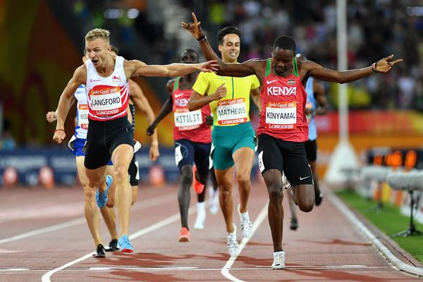 Wycliffe Kinyamal Kisasy winning Commonwealth 800m gold (Getty Images)