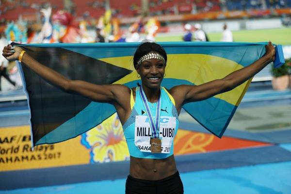 Shaunae Miller-Uibo after helping Bahamas to victory in the mixed 4x400m at the IAAF/BTC World Relays Bahamas 2017 (Getty Images)