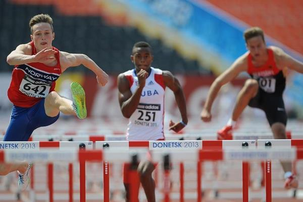 Santiago Ford, Ben Thiele and Karsten Warholm in the boys 110m Hurdles Octathlon at the IAAF World Youth Championships 2013 (Getty Images)