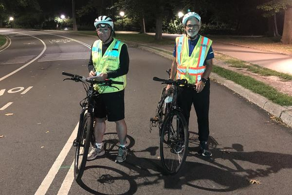 David Katz (left) and Phil Greenwald (right) finishing the re-measurement of the original New York City course on the eve of the race's 50th anniversary (David Katz)