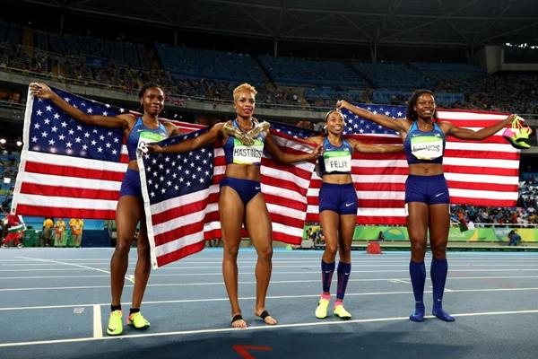The victorious US 4x400m team at the Rio 2016 Olympic Games (Getty Images)
