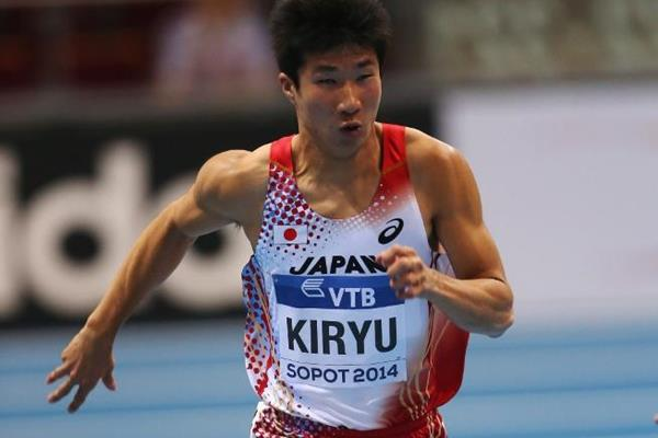 Yoshihide Kiryu in the 60m heats at the 2014 IAAF World Indoor Championships in Sopot (Getty Images)