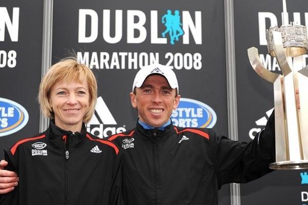 Dublin Marathon winners Larisa Zyusko and Andriy Naumov (Sportsfile)