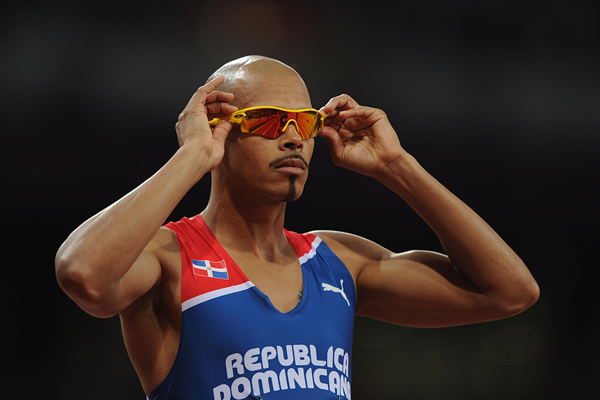 Felix Sanchez lines up for the 400m hurdles final (Getty Images)