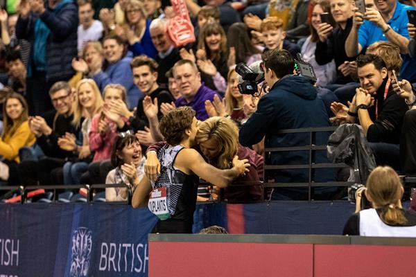 Armand Duplantis celebrates with his mother Helena after breaking the pole vault world record in Glasgow (Dan Vernon)