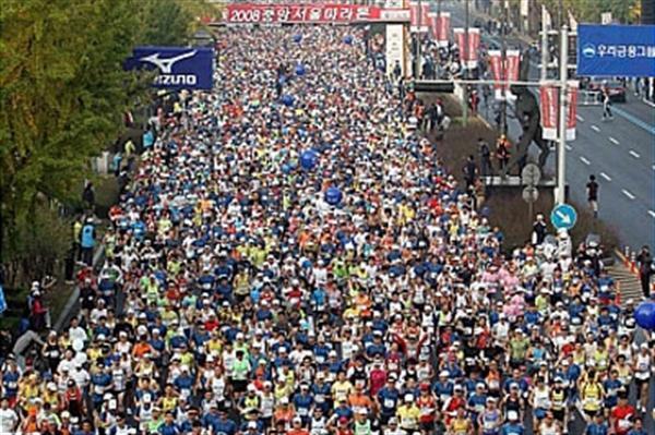 Aerial shot of the JoongAng Seoul Marathon (JoongAng Seoul Marathon organisers)