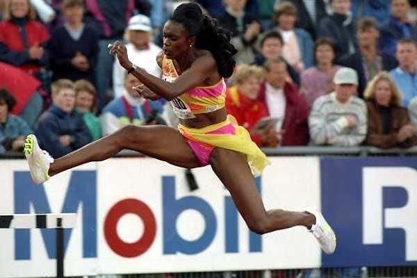1993: Sandra Farmer-Patrick of the USA in action during the 400 metres Hurdles event at the IAAF Mobil Grand Prix at the Bislett Stadium in Oslo, Norway (Getty Images)