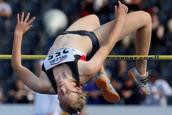 Kimberly Jess of Germany on her way to victory in the Final of the Women's High Jump (Getty Images)