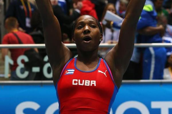 Yarisley Silva celebrates pole vault gold at the 2014 IAAF World Indoor Championships in Sopot (Getty Images)