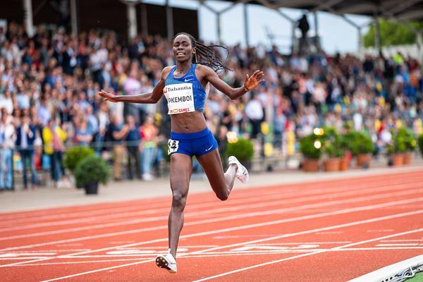 Margaret Chelimo Kipkemboi wins the 5000m at the FBK Games in Hengelo (Eric Roeske)