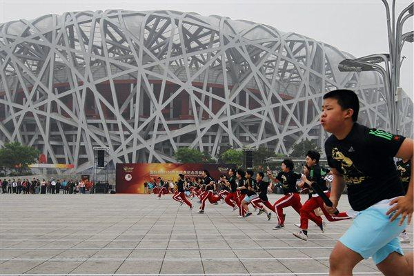 The start of the race at the '100 Kids - 100 metres - 100 years' event in Beijing Olympic Park to celebrate the year of the IAAF Centenary (Getty Images)
