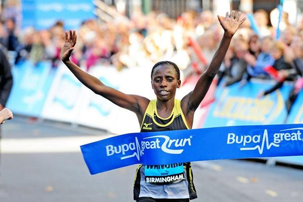 Polline Wanjiku winning at the 2014 Bupa Great Birmingham Run (Mark Shearman)
