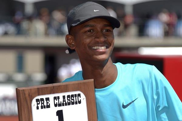 Mutaz Essa Barshim after winning at the 2013 IAAF Diamond League in Eugene (Kirby Lee)