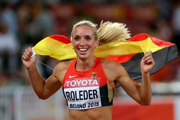 Cindy Roleder after taking silver in the 100m hurdles at the IAAF World Championships Beijing 2015 (Getty Images)