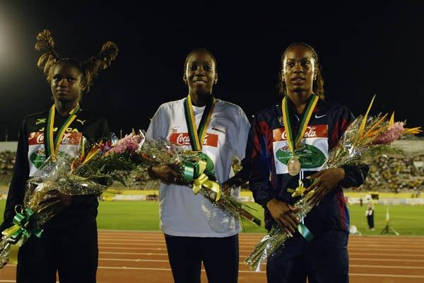 Sanya Richards (right) on the 200m podium at the 2002 World Junior Championships. The race was won by Vernisha James (centre) with Anniesha McLaughlin (left) in second. (Getty Images)