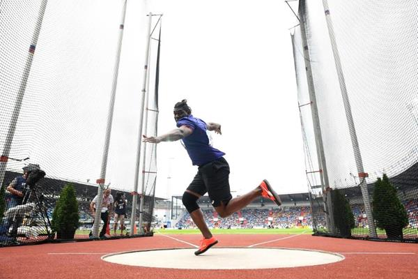 Fedrick Dacres spins to victory in the discus at the IAAF Continental Cup Ostrava 2018 (Getty Images)