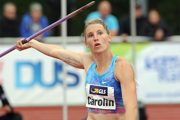 Carolin Schafer in the heptathlon javelin at the Stadtwerke Ratingen Mehrkampf Meeting (Gladys Chai von der Laage)