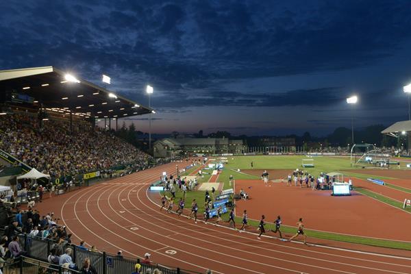 Hayward Field, the venue of the 2015 IAAF Diamond League meeting in Eugene (Kirby Lee)