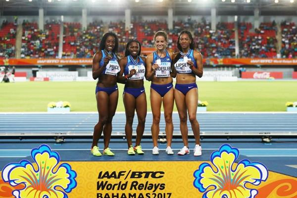 The US 4x800m team of Chanelle Price, Chrishuna Williams, Laura Roesler and Charlene Lipsey at the IAAF/BTC World Relays Bahamas 2017 (Getty Images)