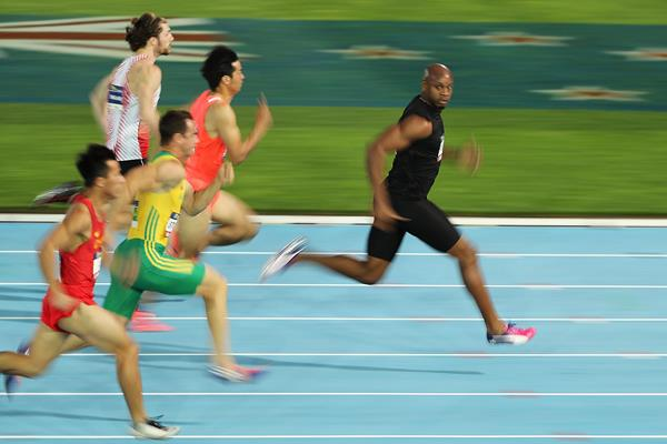 Asafa Powell en route to his 60m victory at the Nitro Athletics meeting in Melbourne (Getty Images)