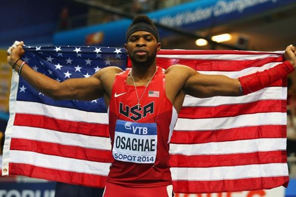 Omo Osaghae, winner of the 60m hurdles at the 2014 IAAF World Indoor Championships in Sopot (Getty Images)