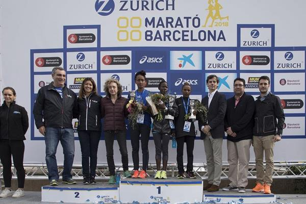 Women's podium at the 2018 Zurich Barcelona Marathon (organisers)