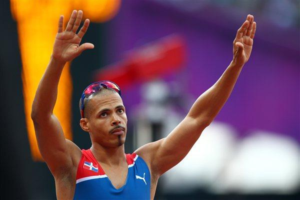 Felix Sanchez of Dominican Republic celebrates after competing in the Men's 400m Hurdles Semi Final on Day 8 of the London 2012 Olympic Games at Olympic Stadium on August 4 2012 (Getty Images)