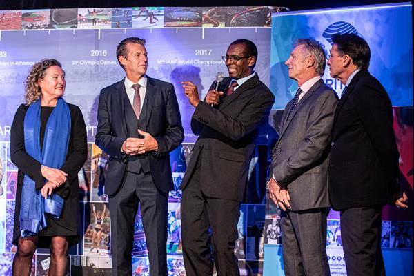 Gabriella Dorio, Steve Cram, Abdi Bile, Eamonn Coghlan and Seb Coe - Heritage Mile Night (© Philippe Fitte for World Athletics)