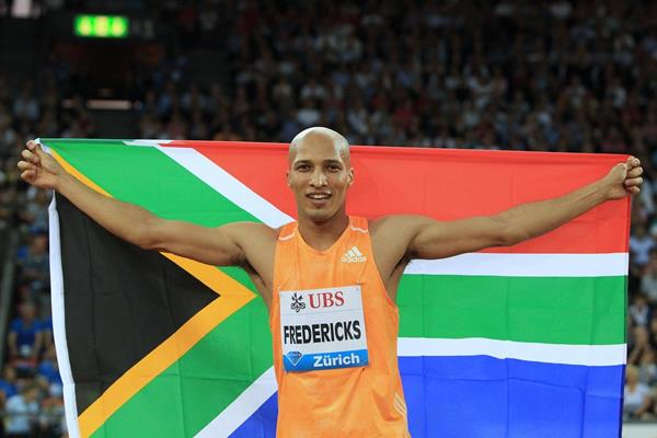 Cornel Fredericks after winning the 400m hurdles at the 2014 IAAF Diamond League final in Zurich (Jean-Pierre Durand)