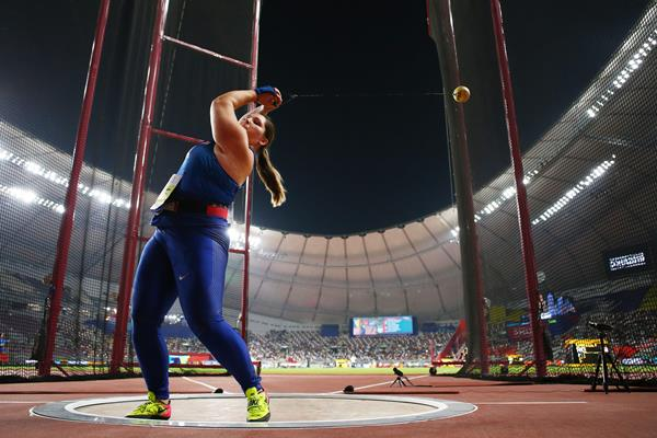 DeAnna Price in hammer throw qualifying at the IAAF World Athletics Championships Doha 2019 (Getty Images)