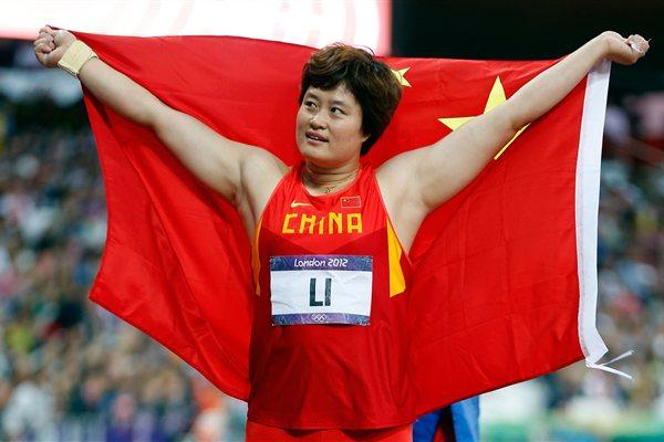 Bronze medalist Yanfeng Li of China celebrates after the Women's Discus Throw Final on Day 8 of the London 2012 Olympic Games at Olympic Stadium on August 4, 2012 (Getty Images)
