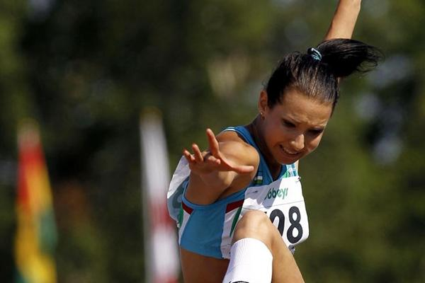 Uzbekistan's Valeriya Kanatova leaps into the women's Triple Jump final (Getty Images)