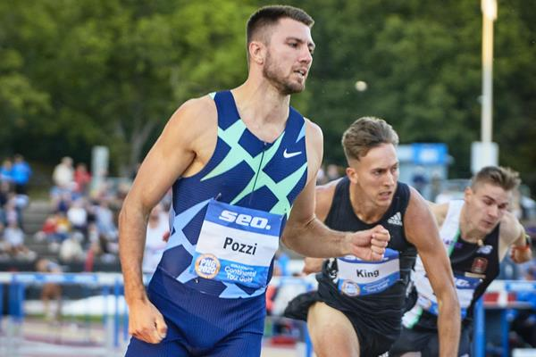 Andrew Pozzi wins the 110m hurdles at the World Athletics Continental Tour meeting in Turku (Ville Vairinen)