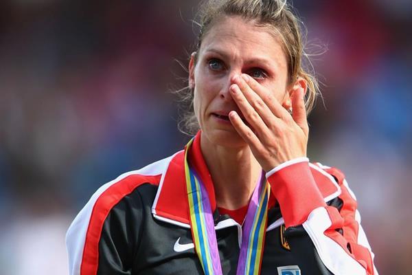 Germany steeplechaser Antje Moldner-Schmidt receives her gold medal at the European Championships (Getty Images)