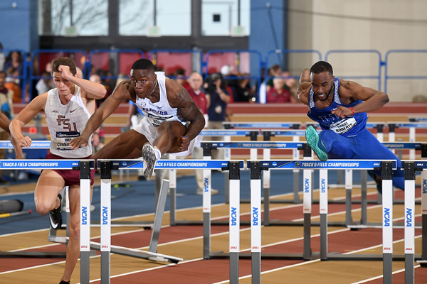 Grant Holloway in the 60m hurdles at the NCAA Indoor Championships (Kirby Lee)
