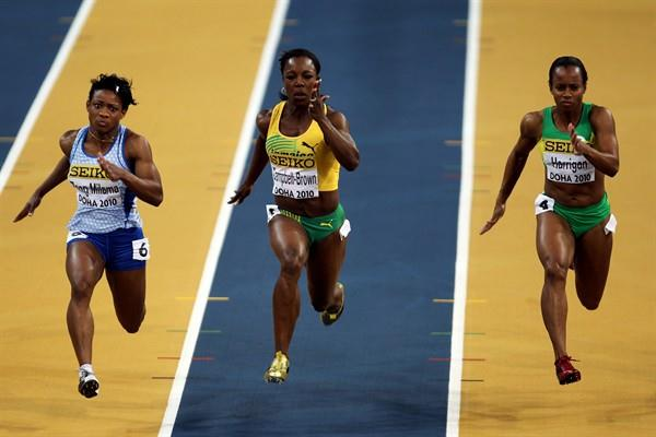 (L-R) Paulette Zang Milama of Gabon, Veronica Campbell-Brown of Jamaica and Tahesia Harrigan of the British Virgin Islands compete in the Women's 60m Semi Final (Getty Images)