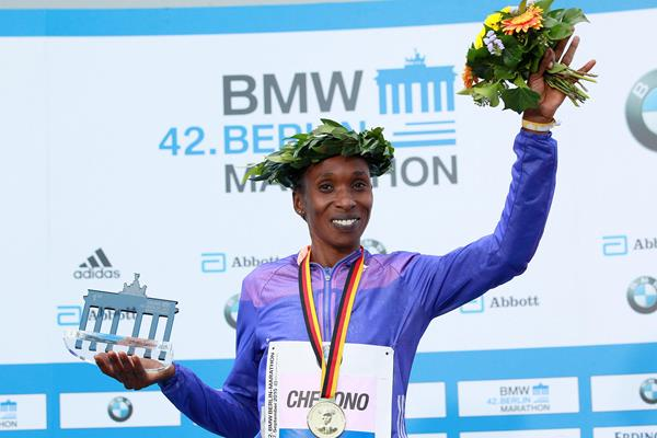 Gladys Cherono at the 2015 Berlin Marathon (Victah Sailer / organisers)
