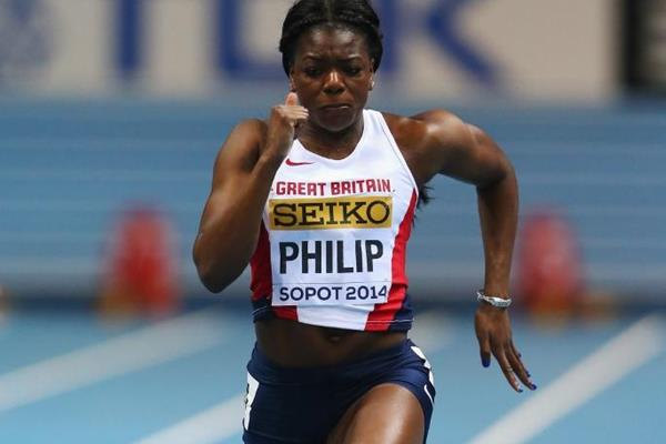 Asha Philip in the 60m at the 2014 IAAF World Indoor Championships in Sopot (Getty Images)