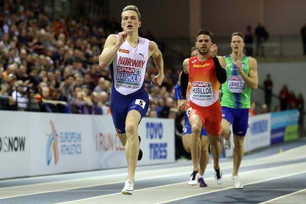 Karsten Warholm equals the European indoor 400m record in Glasgow (Getty Images)