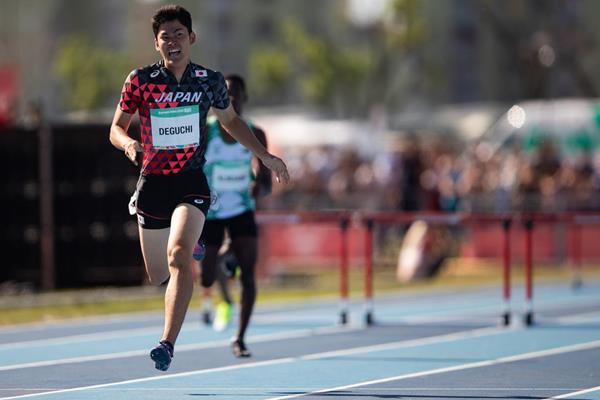 Haruto Deguchi, Youth Olympic Games 400m hurdles winner (Gabriel Heusi for OIS/IOC)