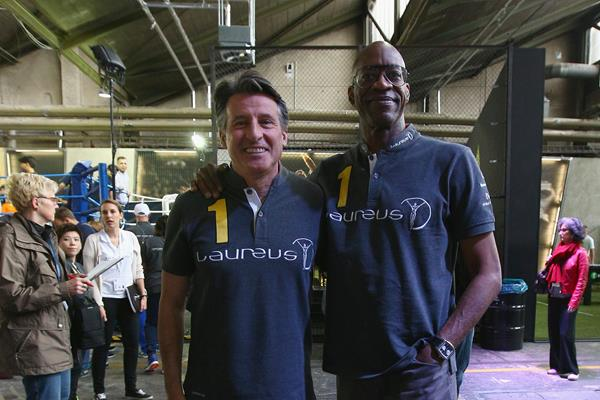 IAAF President Sebastian Coe with 400m hurdles legend Edwin Moses in Berlin (Getty Images)