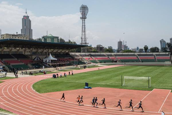 Athletes warm up at Nyayo Stadium (AFP / Getty Images)