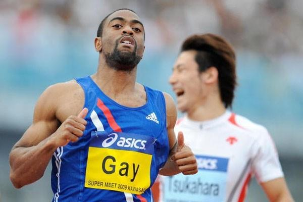 Tyson Gay wins the 100m at the 2009 Super Meet in Kawasaki (AFP / Getty Images)