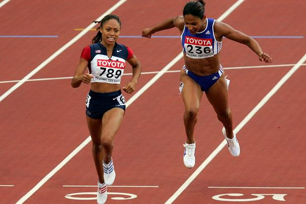 Allyson Felix taking the 2005 world 200m title in Helsinki (Getty Images)