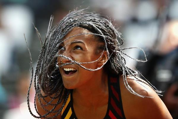 Nafi Thiam in the heptathlon javelin at the IAAF World Championships London 2017 (Getty Images)